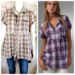 Free People adorable plaid babydoll side pockets